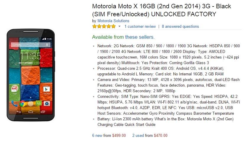motorola moto x 2014 - precio venta amazon