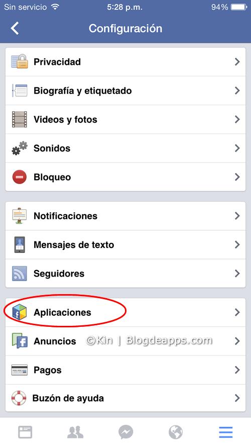 bloquear solicitudes de juego de facebook desde la app para smartphones - paso 2