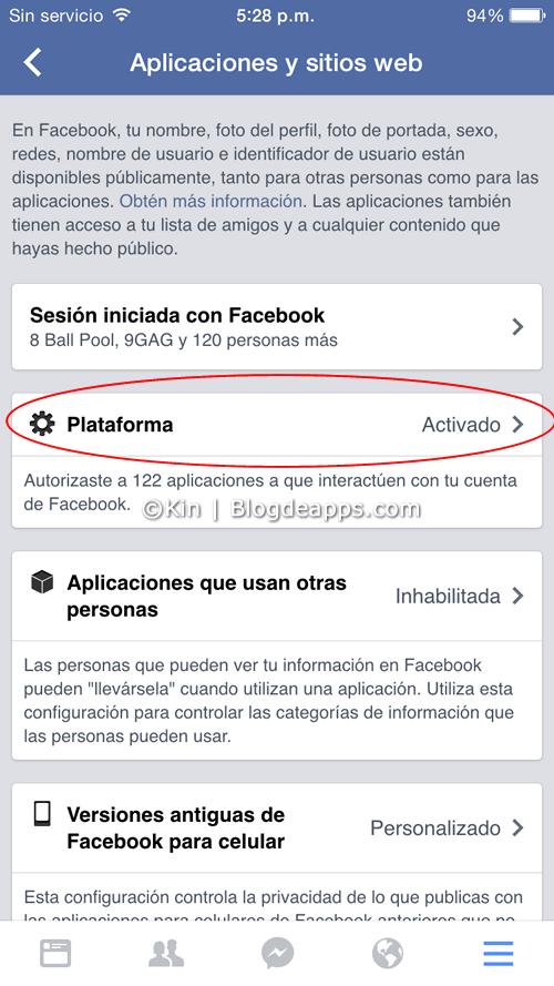 bloquear solicitudes de juego de facebook desde la app para smartphones - paso 3