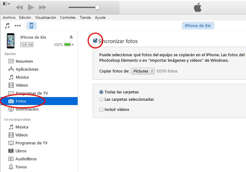 como transferir fotos y videos de iphone a la pc - paso 2