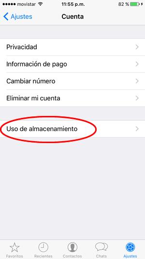 whatsapp uso de almacenamiento 02